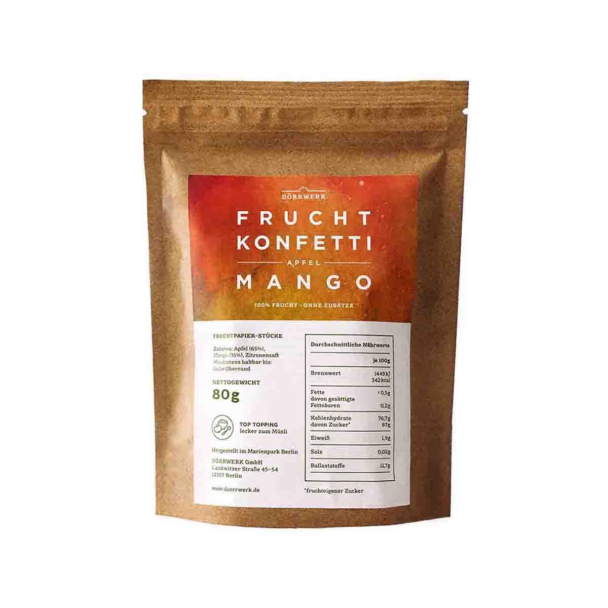 fruchtkonfetti apfel mango d rrwerk jede frucht ist sch n. Black Bedroom Furniture Sets. Home Design Ideas